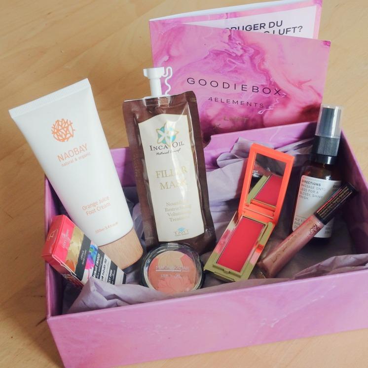 Goodiebox - 4 elements - luft - Inca oil - Evolve Beauty - Naobay - Manna kadar - Teeez cosmetics - Lasplash