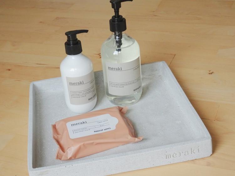 Skønhed, hudpleje og velvære. Bakke, renseservietter, Bodywash og Body Lotion fra Meraki