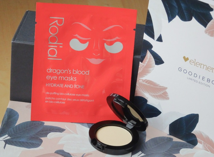 Goodiebox Limited Edition: Elements - Rodial – Instaglam Compact Deluxe Banana Powder - Rodial – Dragon's Blood Eye Mask – Skønhed – Beauty - Hudpleje